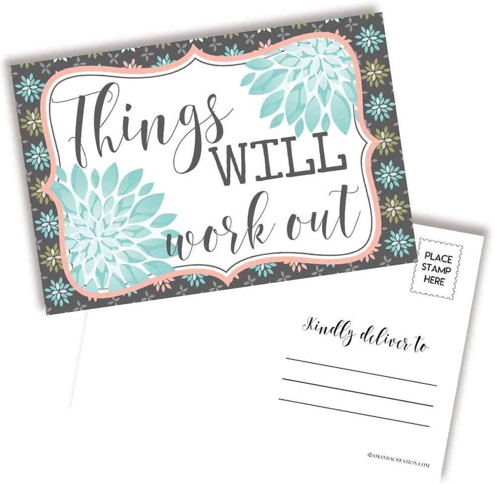 Things Will Work Out Positive Thinking Blank Postcards To Send To Friends & Family, 20 4