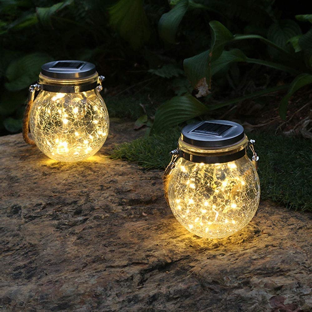 Andvon Hanging Solar Lanterns Lights Outdoor 2 Pack Solar Lights with Handle Glass Mason Jar Lights Waterproof LED Decorative Landscape Lanterns Light for Garden Tree Tabletop Holiday