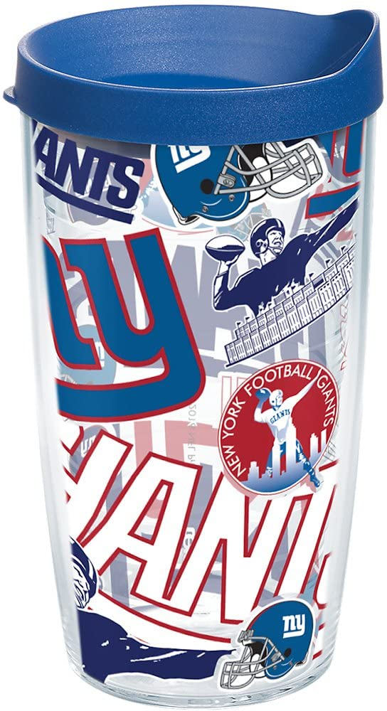 Tervis NFL New York Giants All Over Tumbler with Wrap and Blue Lid 16oz, Clear