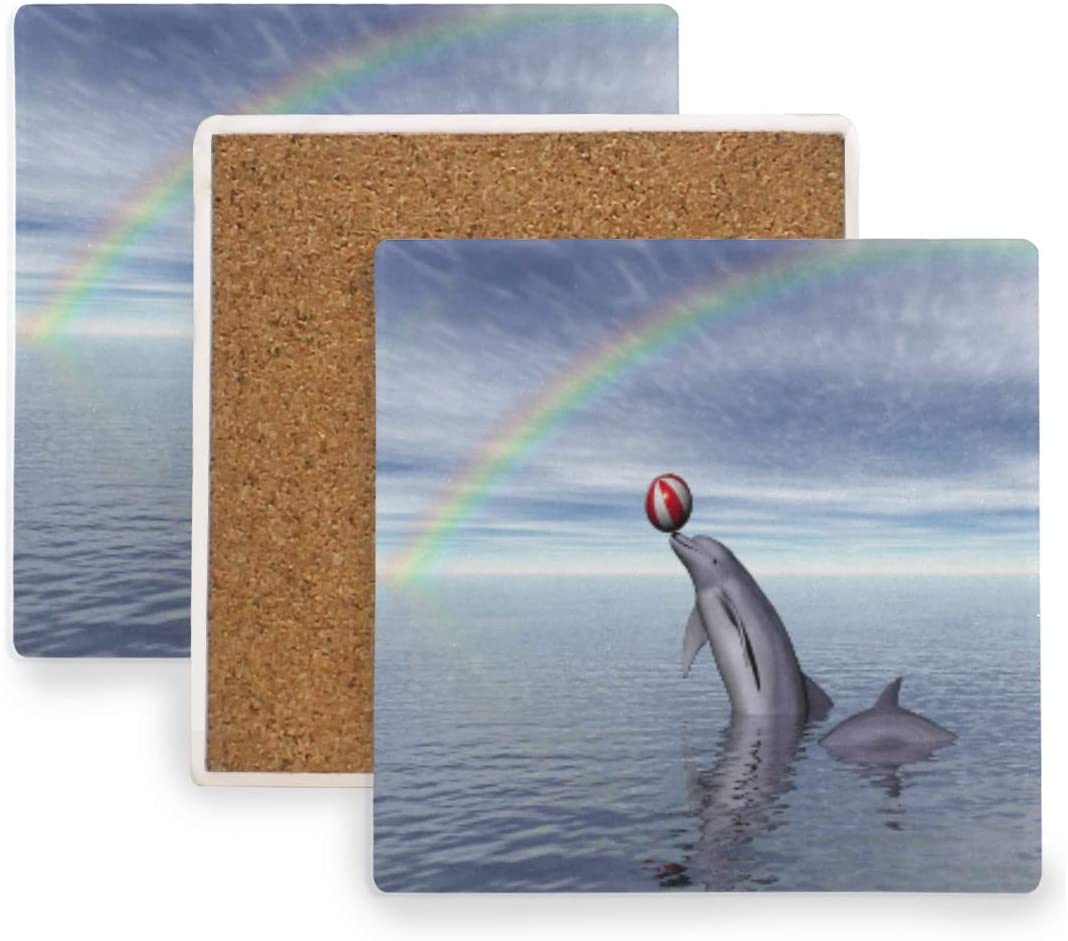 Rainbow Dolphin Coasters,Absorbent Drinks Coasters, Square Ceramic Stone Coaster with Cork Base, No Holder, for Bar Party 1PCS