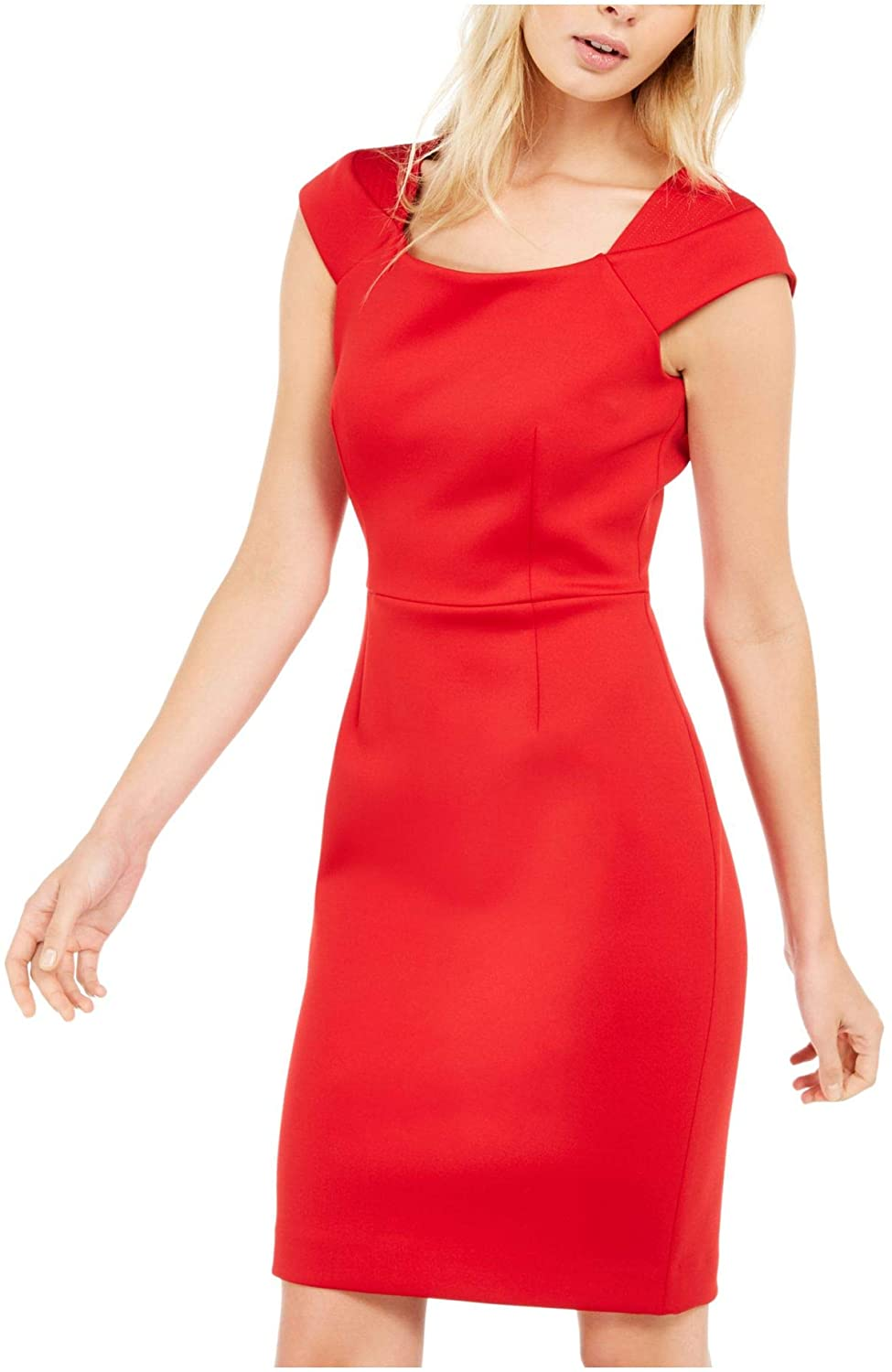 Calvin Klein Womens Red Cap Sleeve Square Neck Above The Knee Sheath Cocktail Dress Size 12