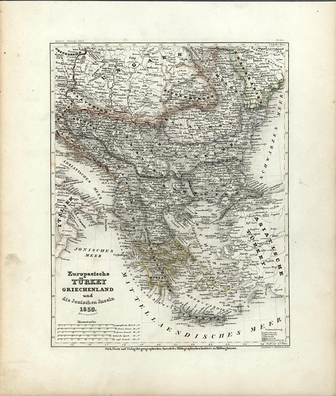 Turkey in Europe Greece Balkans c.1850 Meyer scarce detailed antique map