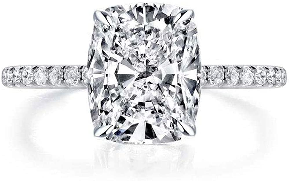 Bo.Dream Cushion Cut 4ct Cubic Zirconia CZ Platinum Plated Sterling Silver Solitaire Engagement Rings