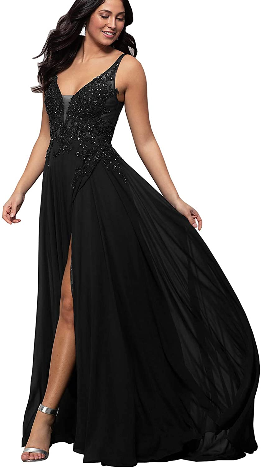 Womens See Through Lace Appliqued Bodice Prom Dress A-line High Slit Formal Evening Party Gown