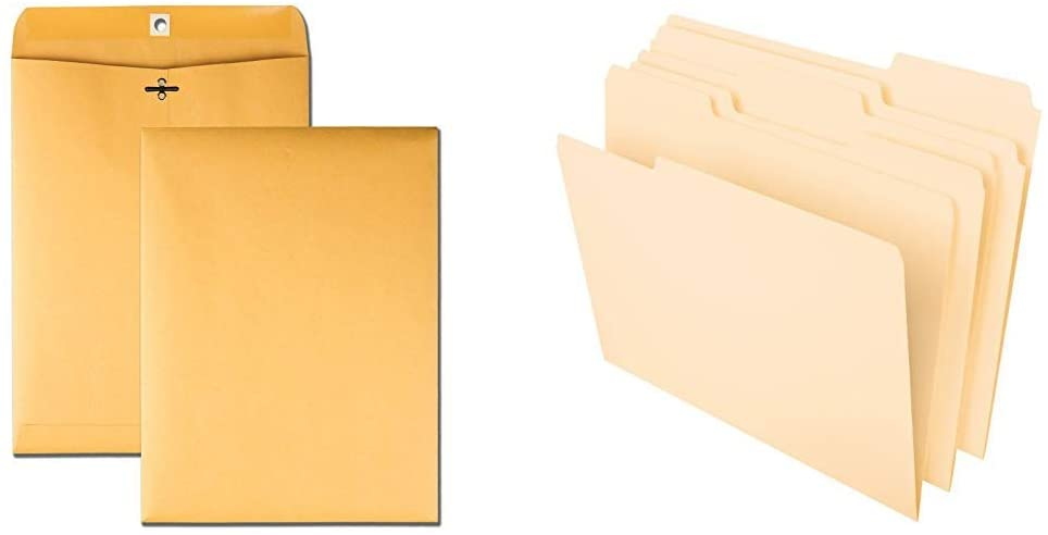 Quality Park 9 x 12 Clasp Envelopes, Storing or Mailing Documents, 28 lb Brown Kraft, 100 per Box & Pendaflex File Folders, Letter Size, 8-1/2