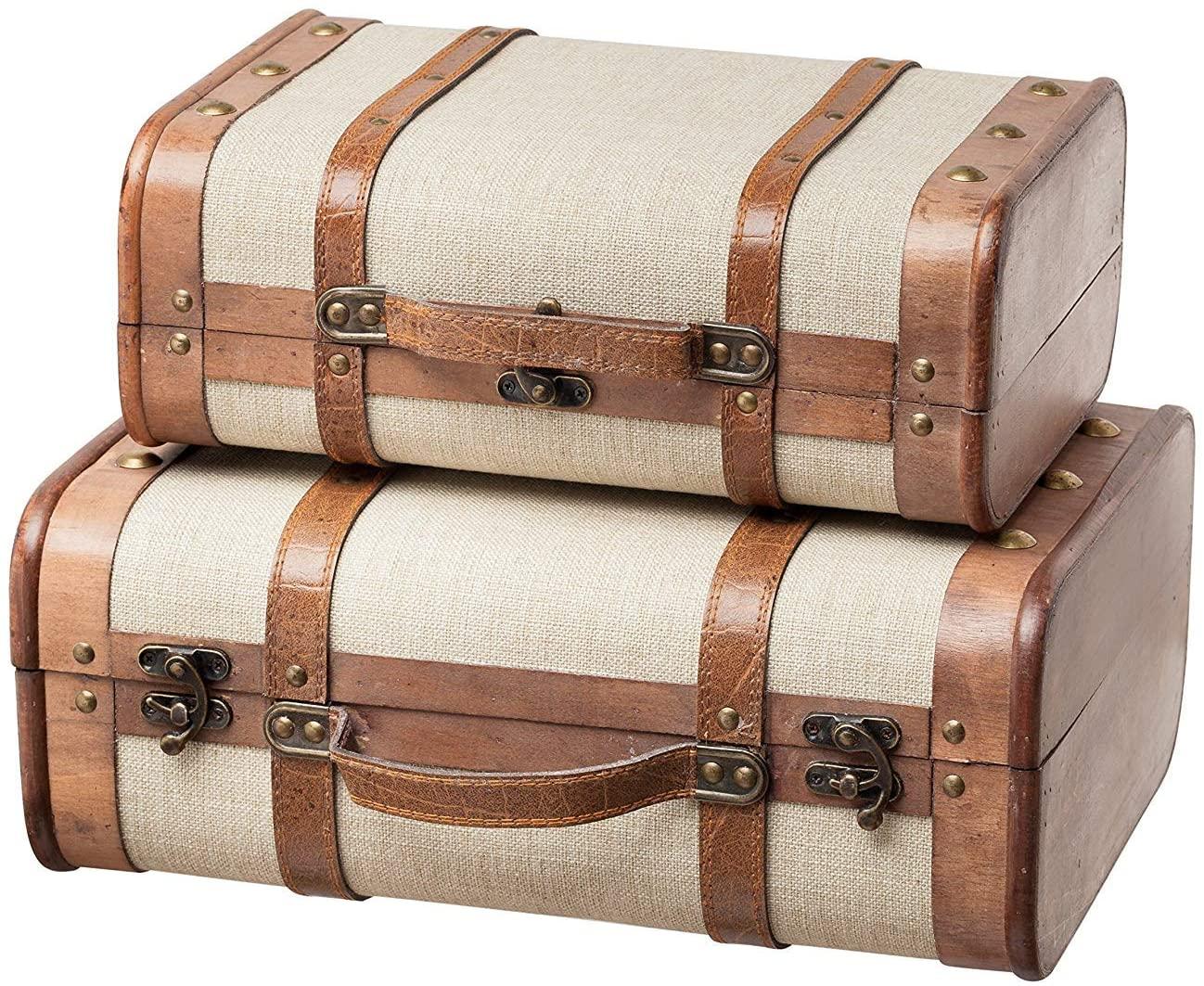 SLPR Decorative Wooden Storage Chest - Set of 2   Wood Trunk Suitcase with Straps (Beige)   Antique Nesting Trunks