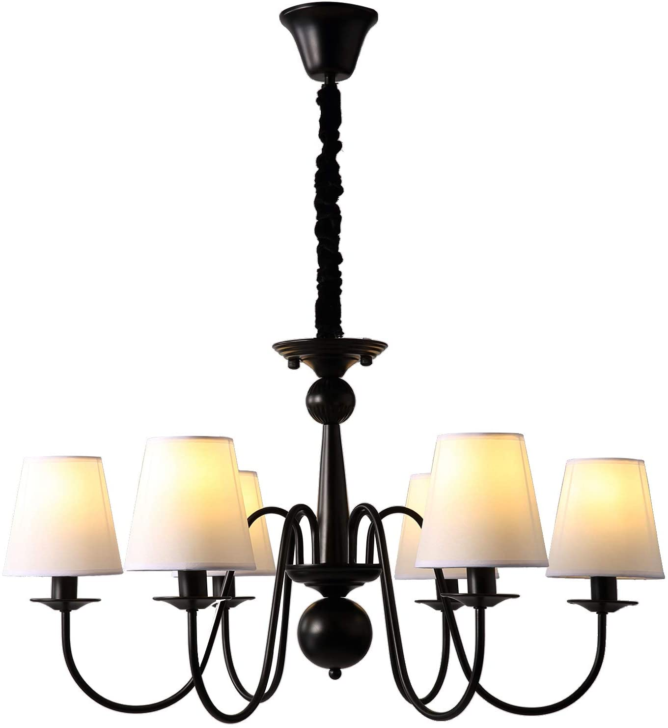 NOXARTE Vintage Chandelier Light Fixture Luxury Black Iron Hanging Ceiling Lamp with White Fabric Lampshade D30