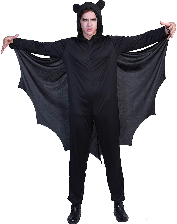 FantastCostumes Adult Bat Costume Halloween Vampire Costume Black Bat Wings Jumpsuit Men and Women Halloween Couple Costume