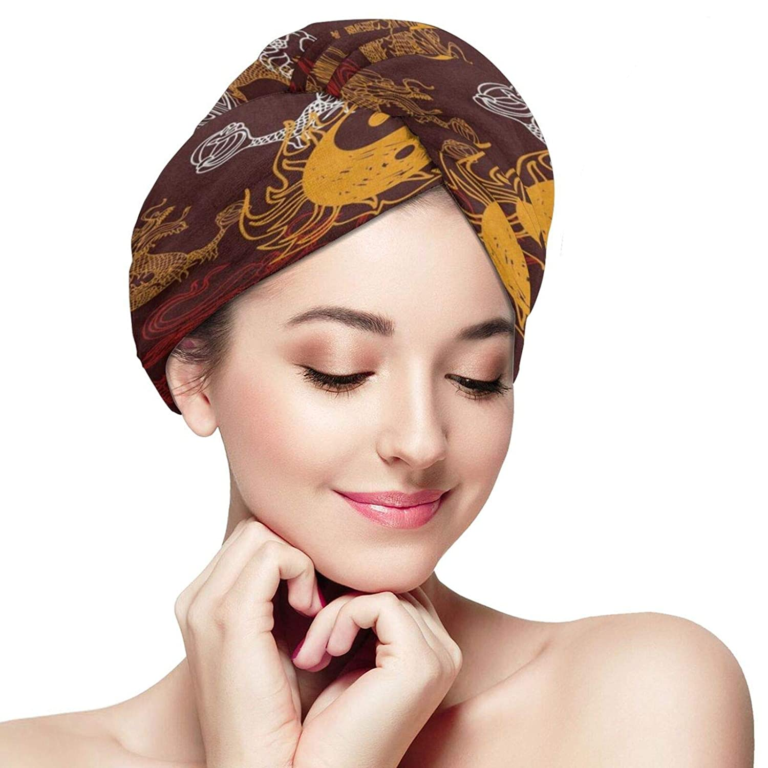Hair Towel Wrap Chinese Stylish Dragon Yin Yang Microfiber Hair Drying Towels Head Wraps Twist Turban Quick Dry Hair Cap for Women Long, Curly, Thick Wet Hair Sauna Accessories
