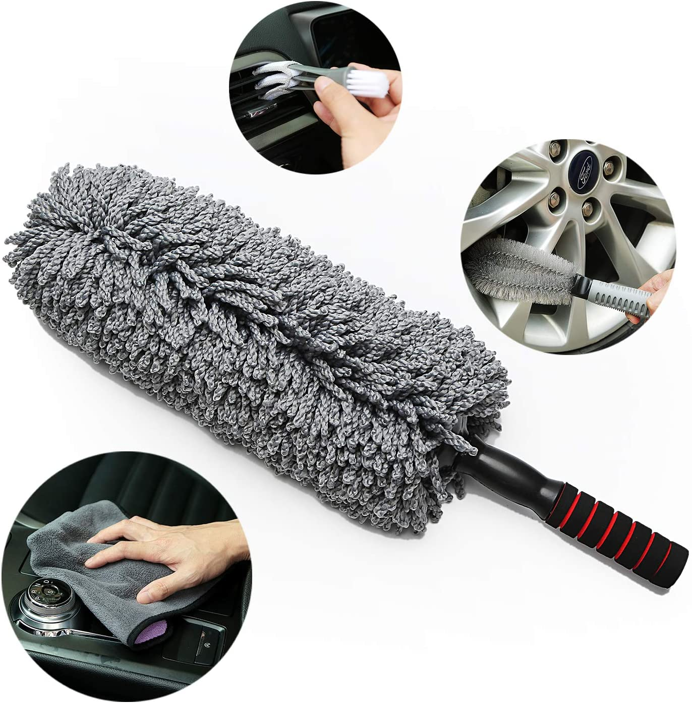Beiqi Car Duster,Car Microfiber Duster, Car Microfiber Duster with Extendable Handle - Exterior/Interior Use – Lint Free – Scratch Free+Car wash Towel+Wheel Brush + Air Conditioner Brush — 4 Pack