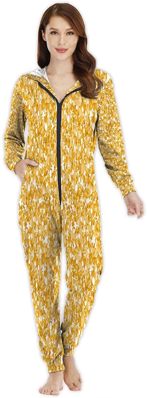 Golden shin Glitter Texture Seamless Pattern -,Women's Onesie Pajamas Sportswear M