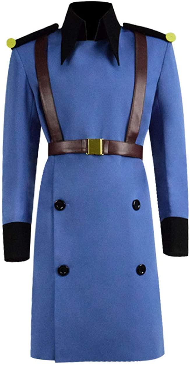 RongJun Men's Anime Jesper Cosplay Costume Blue Uniform Trench Coat with Accessories for Halloween