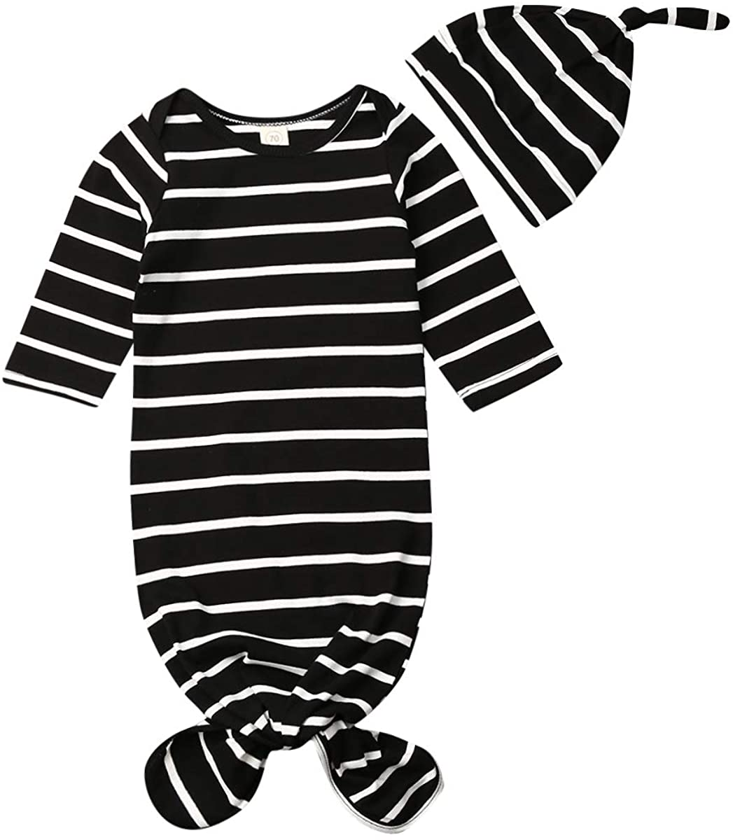 Liuearth Newborn Baby Girl Boy Knitted Sleepwear Buttons Down Gowns with Hat Sleepy Romper Sleeping Bags