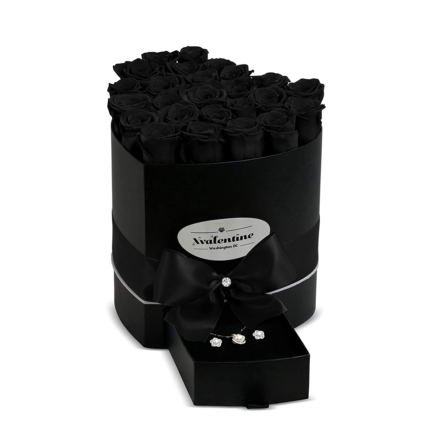XValentine Love Black Box & Black Forever Roses | Real Roses That Last A Year| Eternal Roses | Preserved Roses That Last Forever | Handmade Rose Box | Eternity Roses for Any Occasion