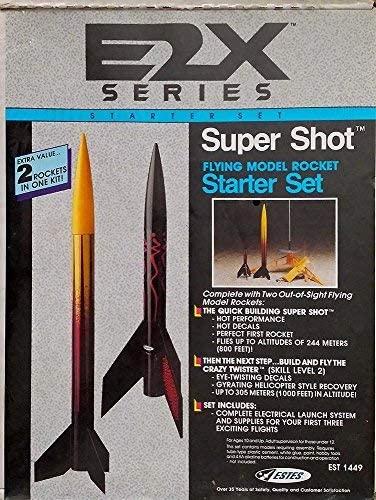 Estes E2X Series Super Shot Flying Model Rocket Starter Set (#84070) with Two Out-of-Sight Flying Model Rockets