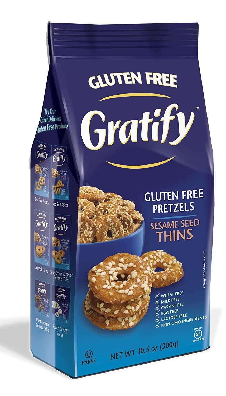 Gratify Gluten Free Pretzel Thins Sesame Seed Vegan GF Pretzel Crisps, 10.5oz Bag (Pack of 6)