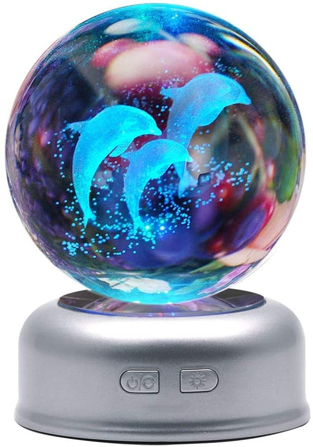 3D Crystal Ball Dolphin Night Light with Stand 7 Colors Change for Kids Baby Bedroom Decor Birthday Gift (Dolphin)