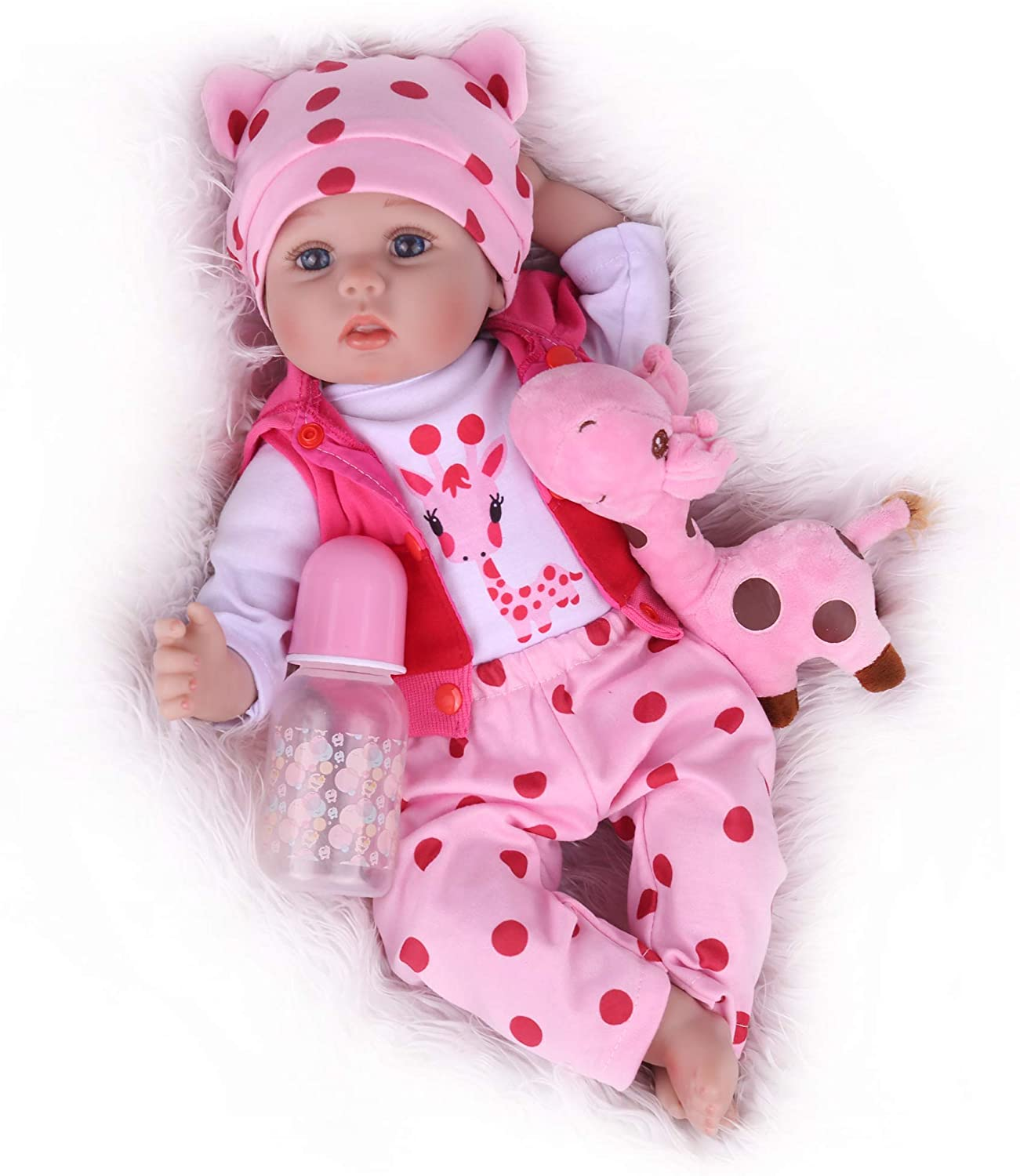 CHAREX Realistic Reborn Baby Dolls,18 inch Reborn Girl Lucy with Giraffe Gift Set for Kids Children Age 3+