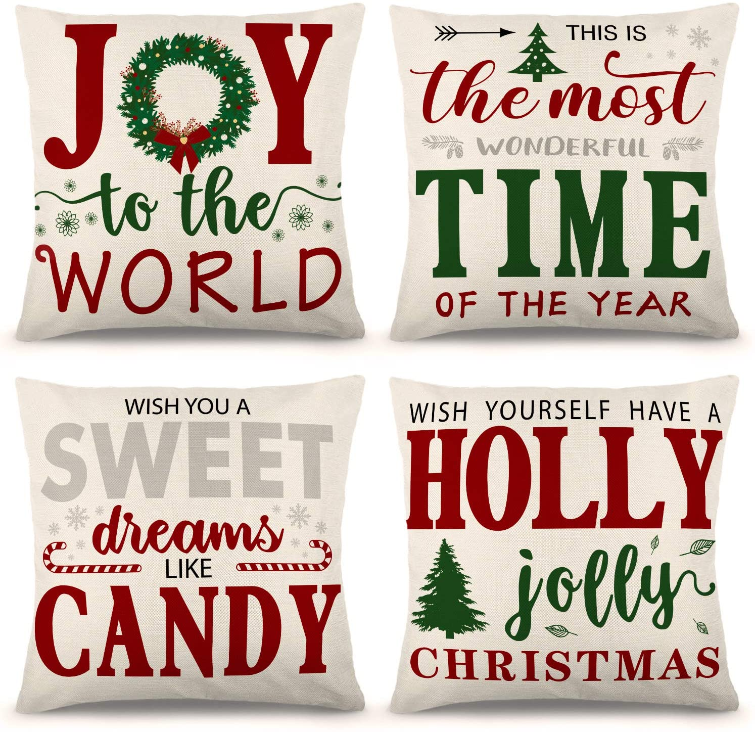 ZJHAI Christmas Pillow Covers 18×18 Inch Set of 4 Farmhouse Pillow Covers Holiday Rustic Linen Pillow Case for Sofa Couch Christmas Decorations Throw Pillow Covers