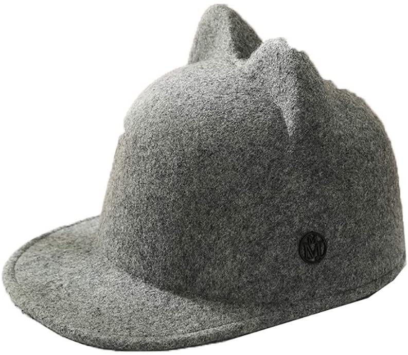 Ladies Felt hat Japanese Anime Rabbit Ear Wool top hat Autumn and Winter Korea Version Wild Simple Fashion Octagon Felt hat,Gray