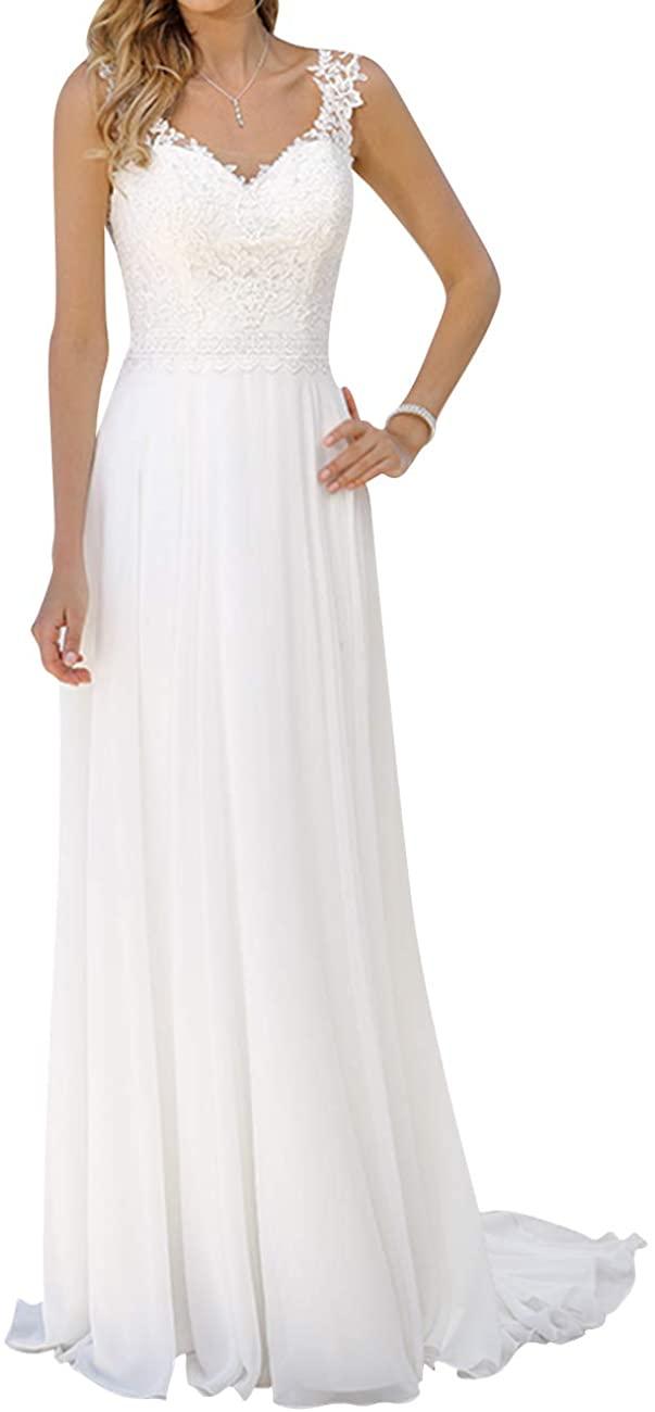 Wedding Dress Beach Chiffon Bridal Gowns V Neck Lace Bride Dresses Chiffon