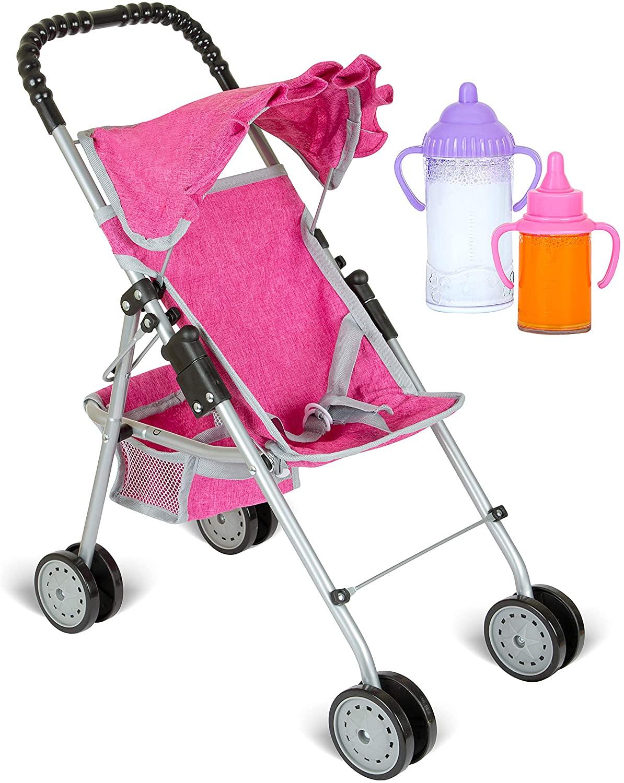 fash n kolor My First Doll Stroller with Basket - Denim Pink Foldable Doll Stroller - Fits Upto 18