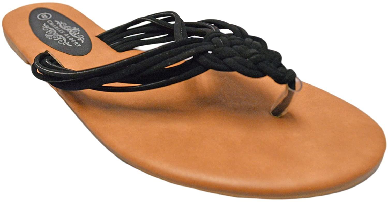 Charles Albert Women's Perry Knot Flat Bohemian Summer Flip Flop Sandals