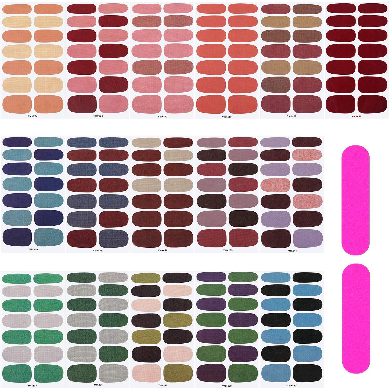 16 Sheets Full Wrap Nail Polish Stickers Self-Adhesive Nail Art Decals Strips Manicure Kits Nail Art Designs with Nail Files for Women Girls DIY Nail Art Decoration (Pure Style)