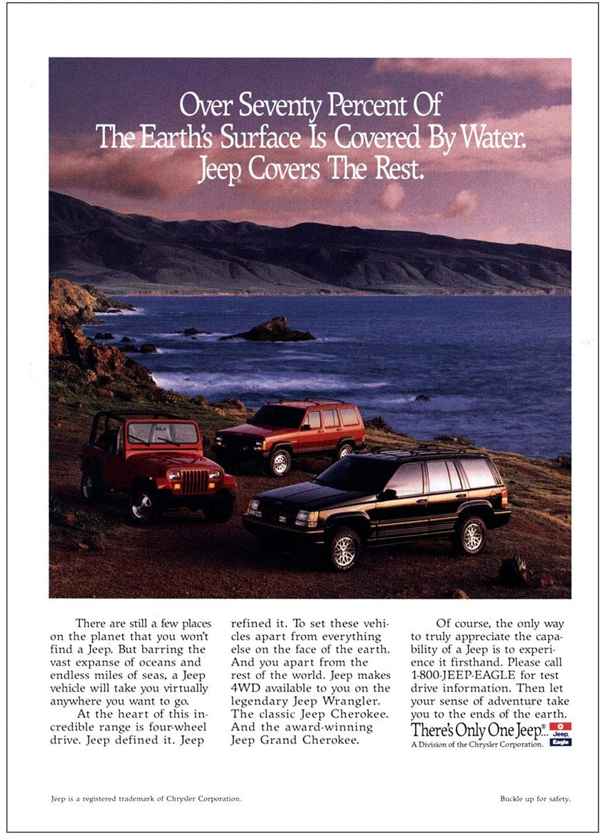 RelicPaper 1993 Jeep: Earths Surface is Covered by Water, Jeep Print Ad