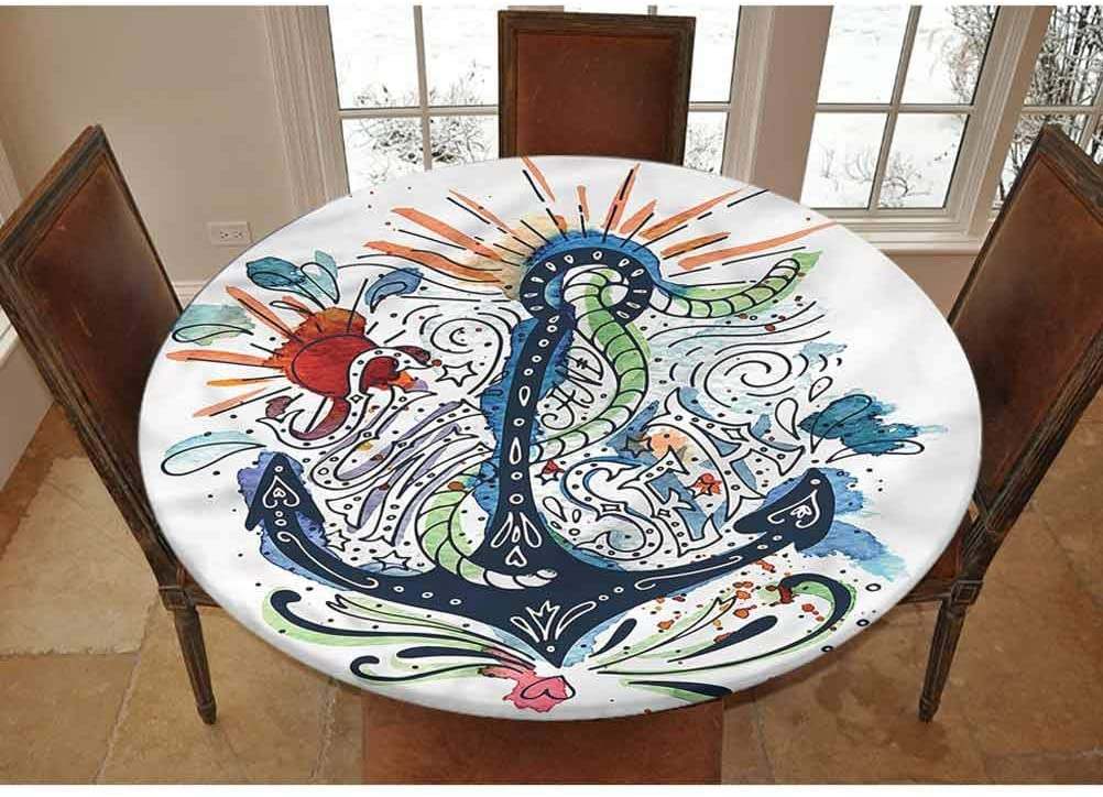 LCGGDB Anchor Elastic Edged Polyester Fitted Tablecolth -Ship Anchor with Sun- XSmall Round Fitted Table Cover - Fits Tables up to 39