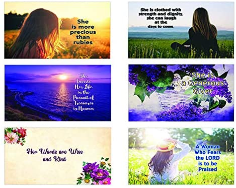Bible Verses About Virtuous Woman Postcards (30-Pack) - Perfect Giveaway for Ministries and Sunday Schools