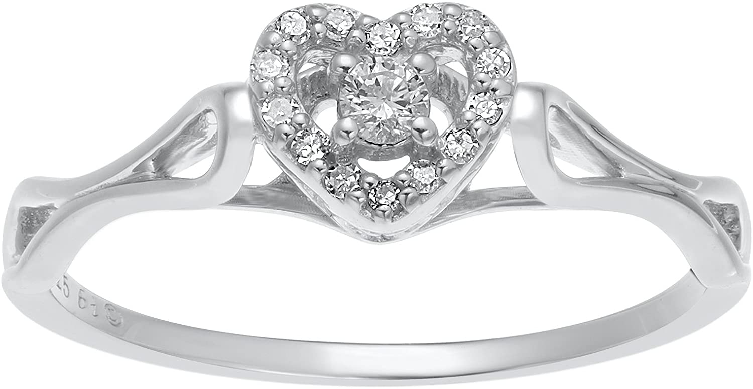 Lavari Jewelers - 1/10 cttw Diamond Heart 925 Sterling Silver Ring Size 6