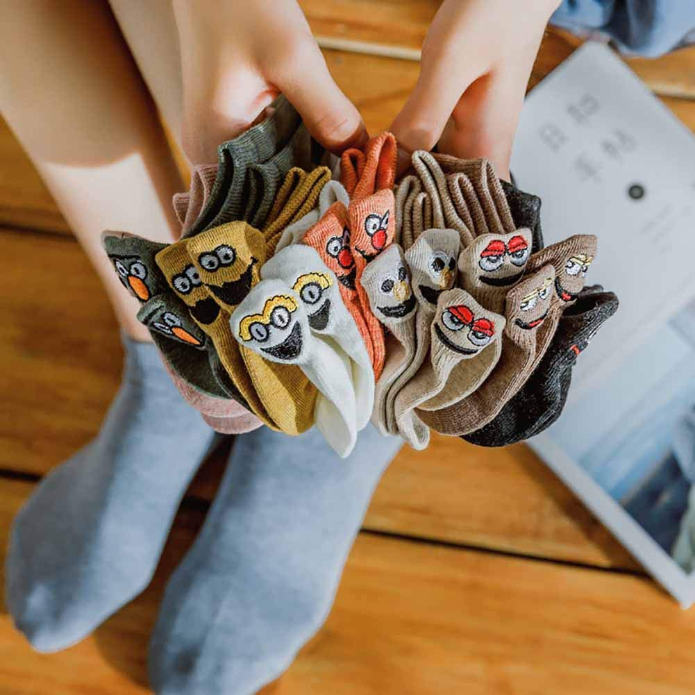 10 Pack Fancy Novelty Women Crew Socks Christmas Gift - Ankle Low Cut Socks - Embroidered Funny Kawaii Expression Socks - Cute Casual Funny Cotton Socks