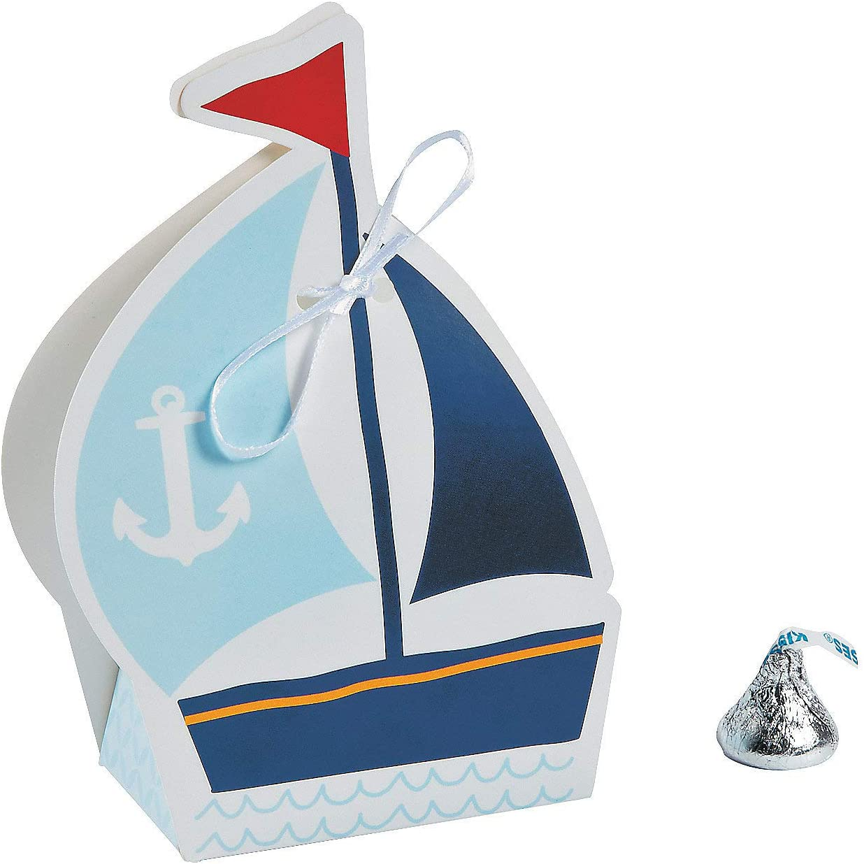 Fun Express - Nautical Baby Shower Favor Boxes for Baby - Party Supplies - Containers & Boxes - Paper Boxes - Baby - 12 Pieces