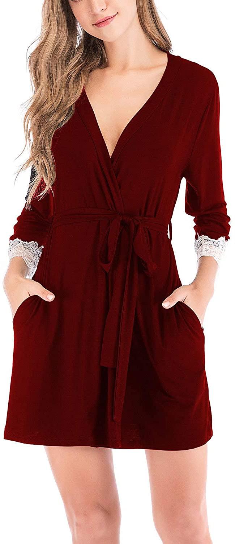 Lu's Chic Women's Kimono Robe Short Lace Bathrobe Soft Lightweight Classic Pure Sleepwear