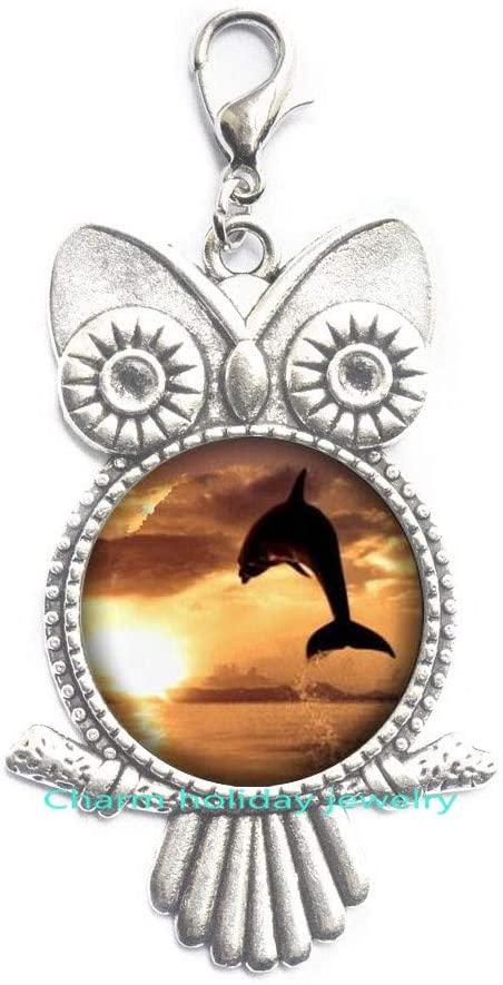 Dolphin Owl Zipper Pull Nautical Jewelry,Animal Jewelry,Gift for Women Handmade, Bridesmaid Jewelry-#225
