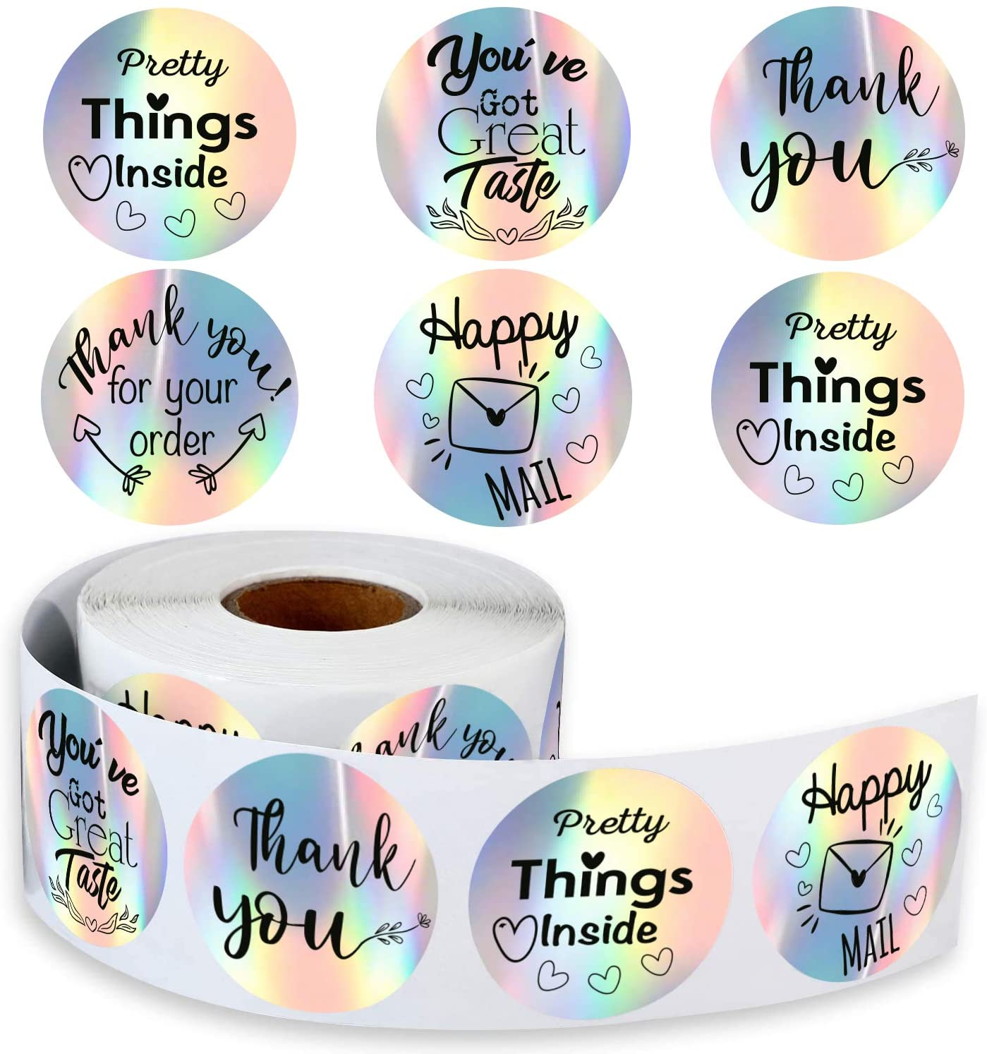 500 Holographic Thank You Stickers 1.5