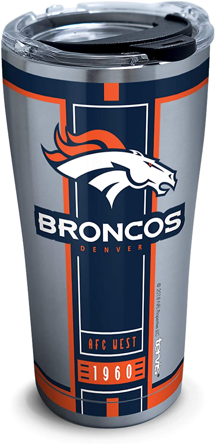 Tervis NFL Denver Broncos Blitz Stainless Steel Insulated Tumbler with Clear and Black Hammer Lid, 20 oz, Silver