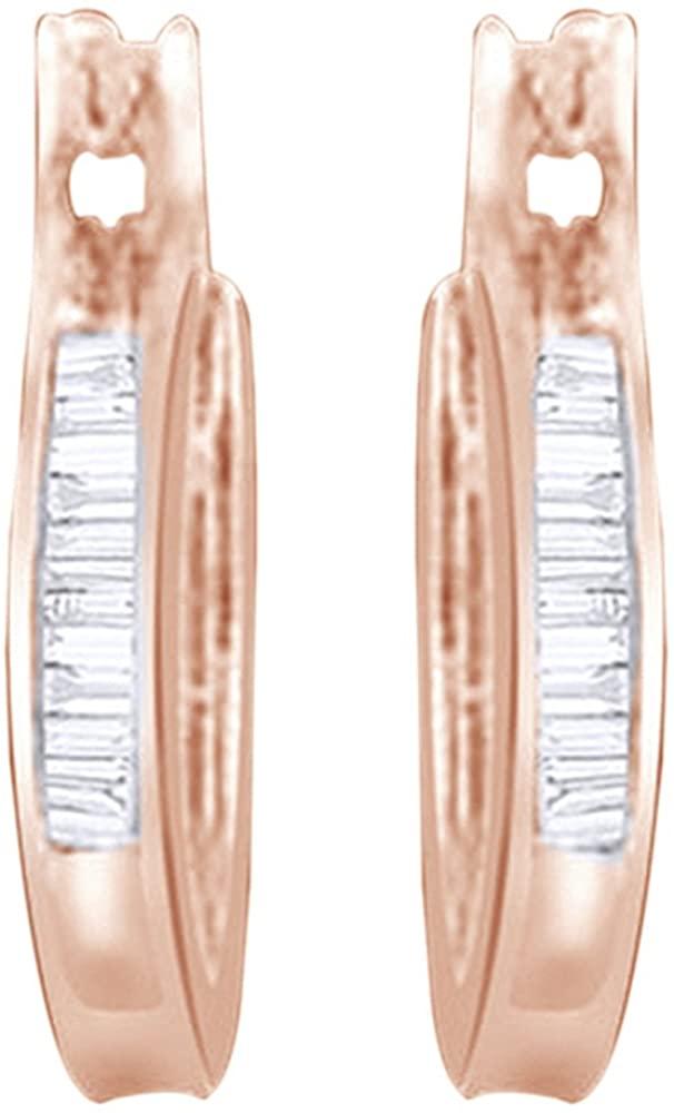Baguette Shape White Cubic Zirconia Hoop Earrings in14k Gold Over Sterling Silver (0.25 cttw)