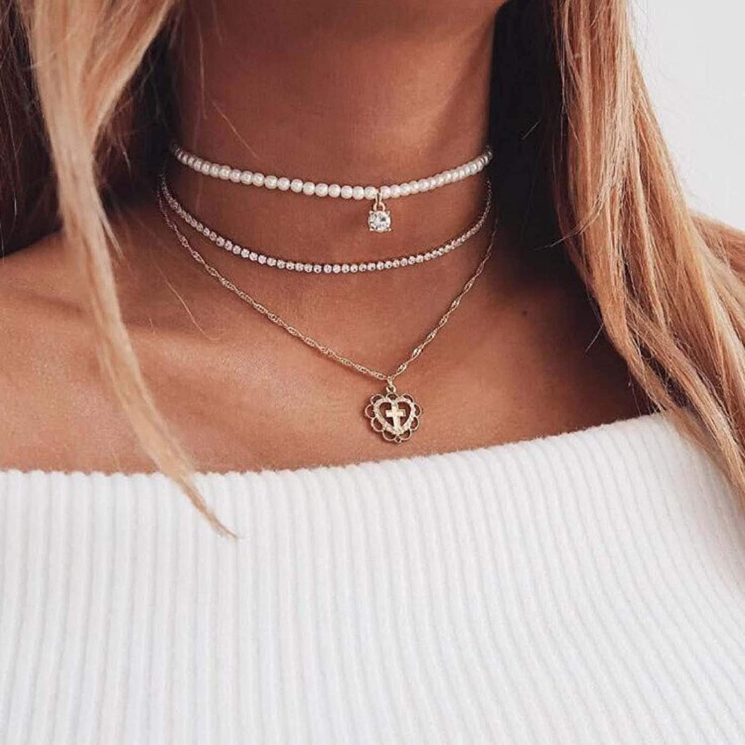 Kakaco Crystal Pearl Choker Necklaces Heart Layered Pendant Necklace Gold Chain Jewelry for Women and Girls