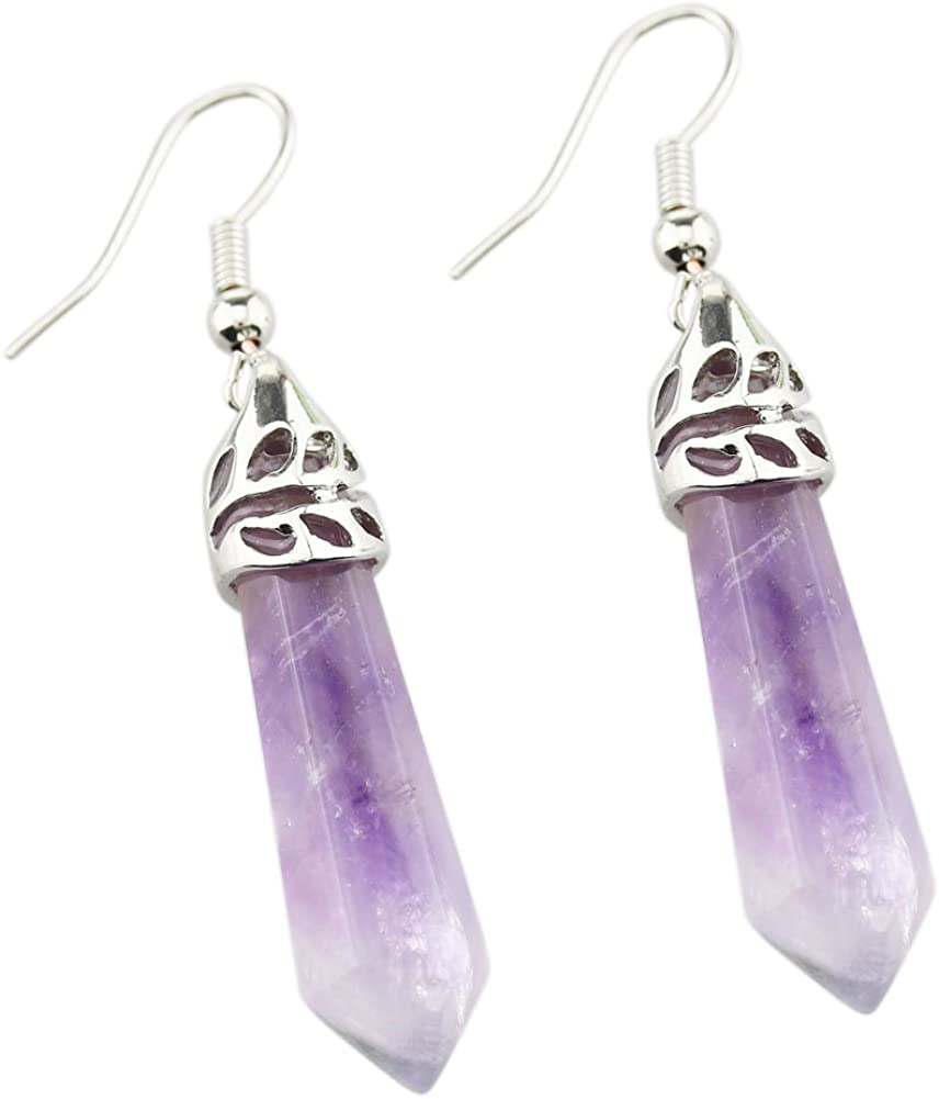 FOY-MALL Natural Amethyst Hexagonal Pointed Dangle Earrings ED1119M