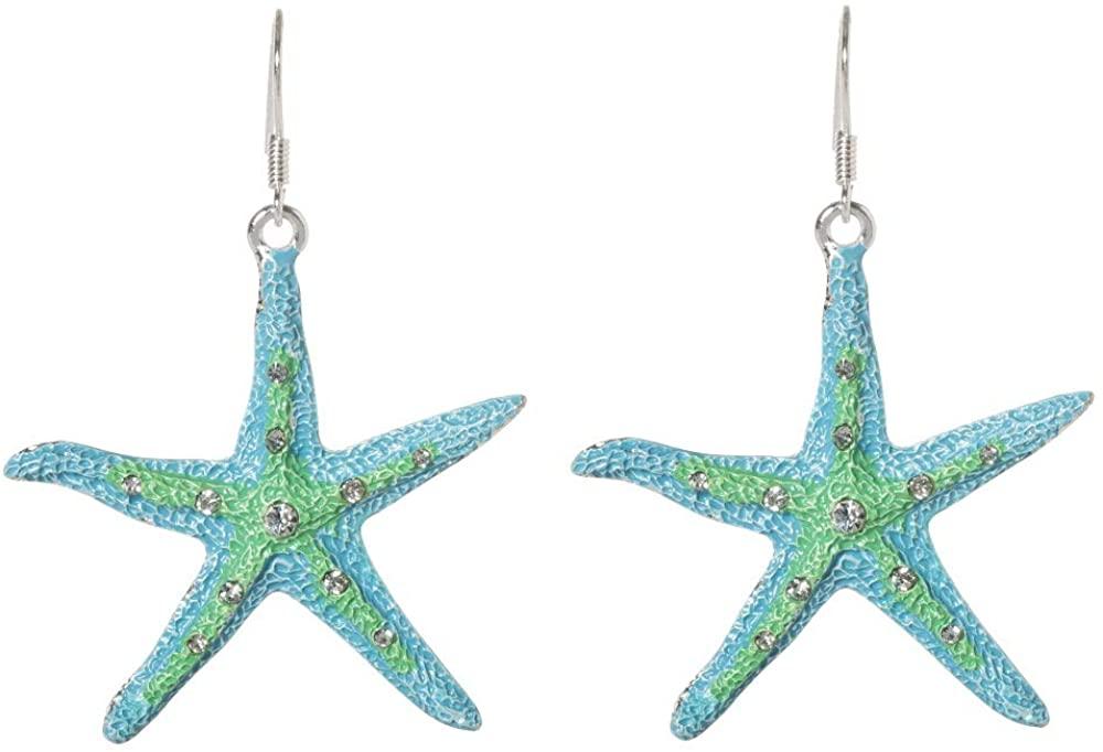 Artisan Owl - CZ Crystal Starfish Dangle Earrings