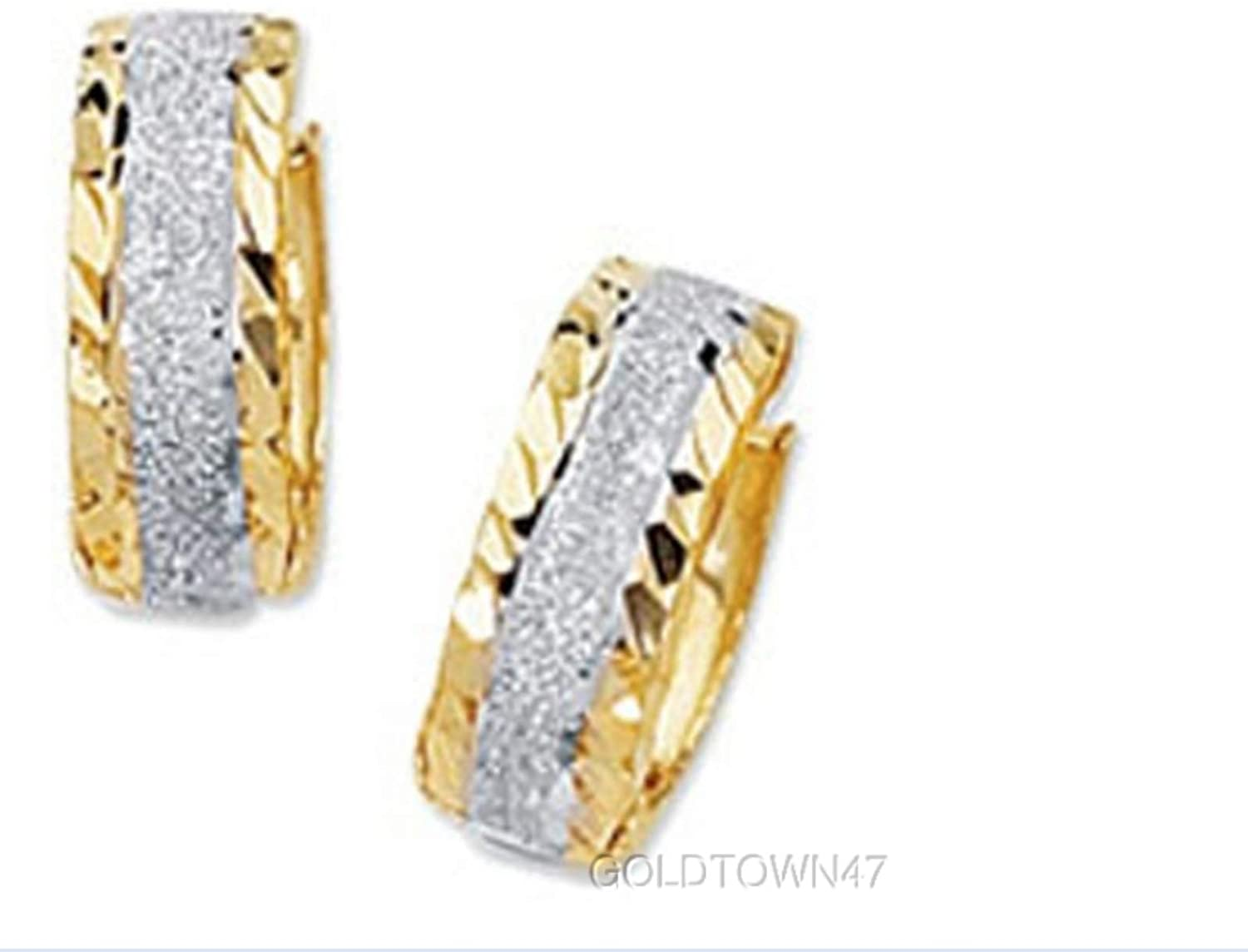 Huggie Earring in 14K Yellow+White Gold Shiny Two Tone with Sparkle