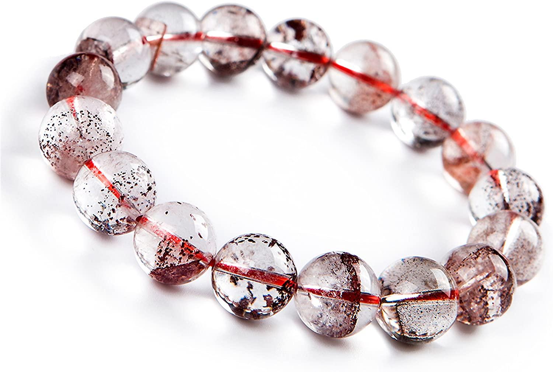Genuine Natural Red Phantom Quartz Crystal Round Bead Bracelet 13mm