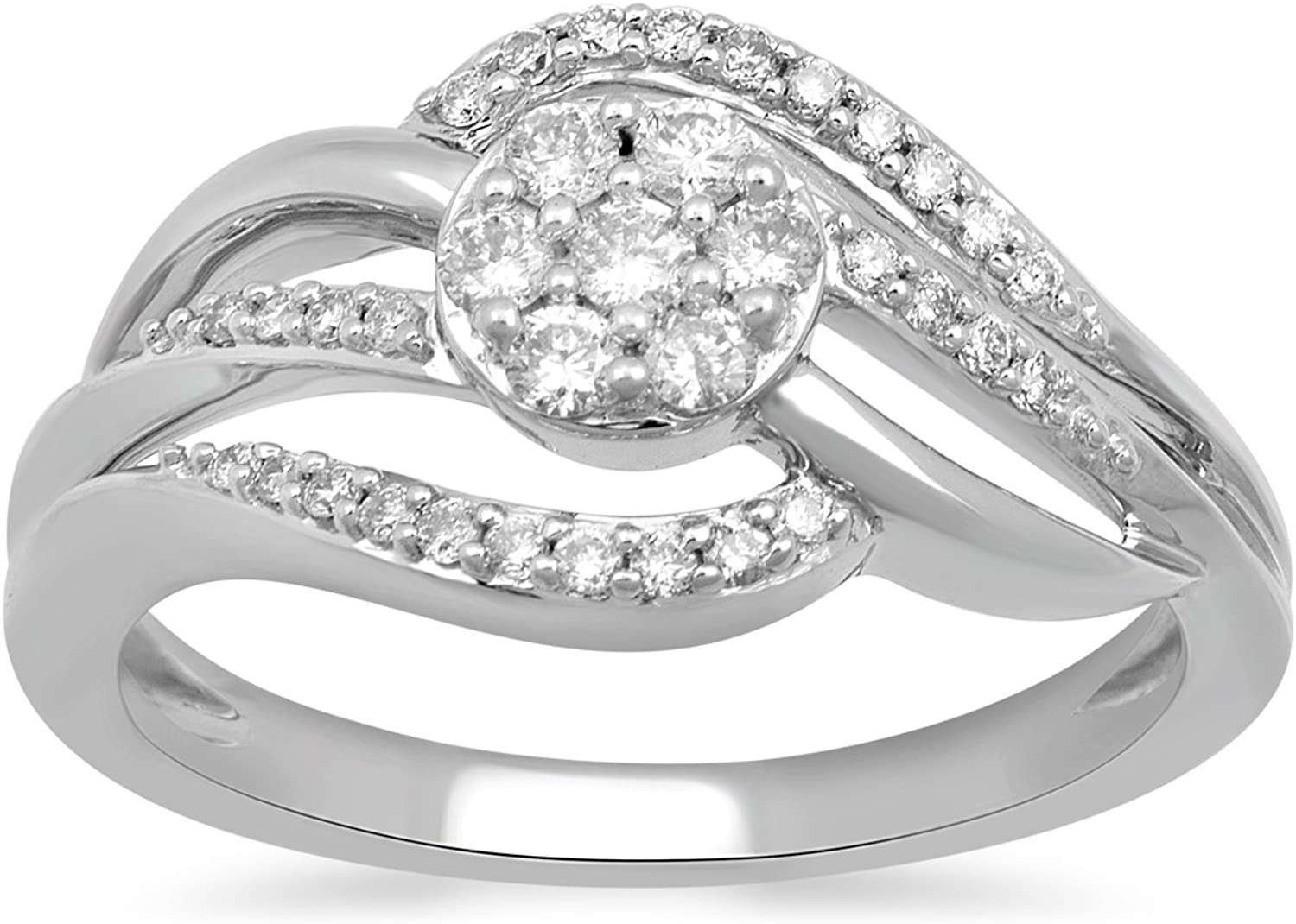 Jewelili 10kt White Gold 1/3cttw Diamond Crossover Ring, Size 7