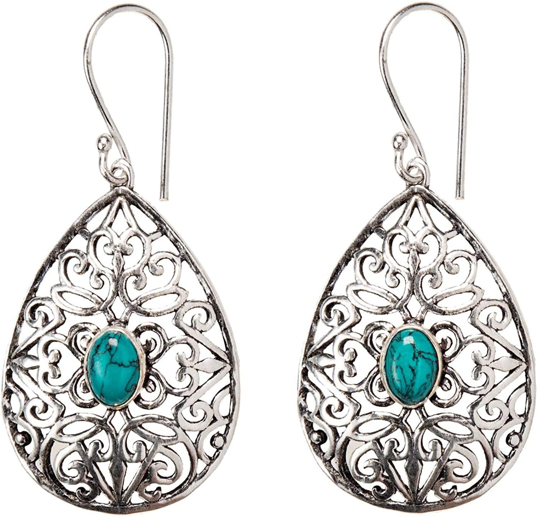 81stgeneration Women's Silver Tone Brass Filigree Teardrop Simulated Gemstone Dangle Earrings
