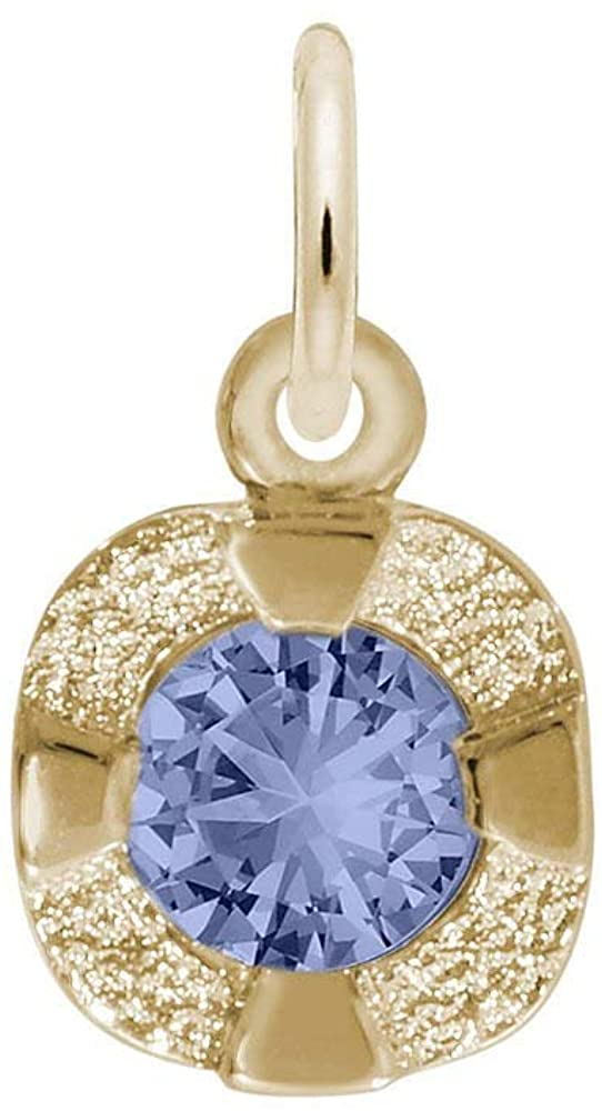 Petite Simulated Birthstone - September Charm (Choose Metal) by Rembrandt