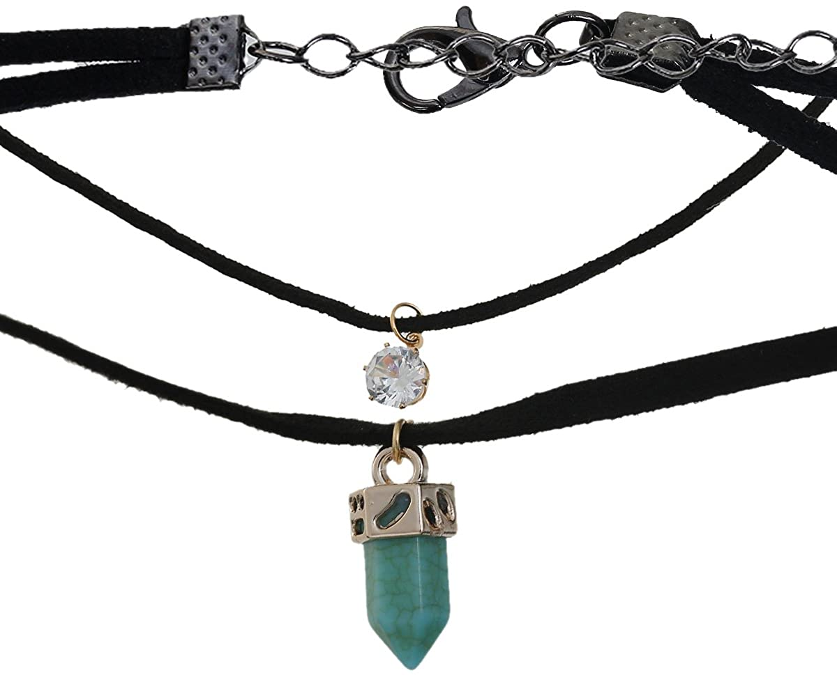 Sexy Sparkles Velvet Choker Necklace for Women Girls Gothic Choker Bolo Tie Corset Lace Chokers
