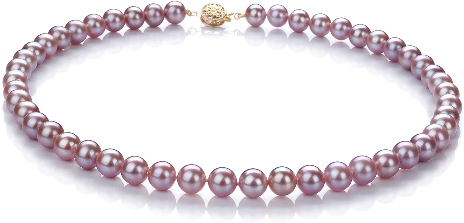 Lavender 7.5-8mm AAA Quality Freshwater Gold filled Cultured Pearl Necklace For Women