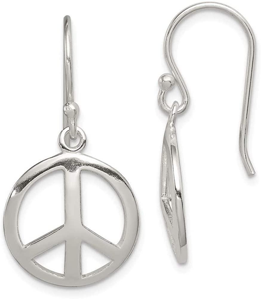 925 Sterling Silver Open Shepherd hook Polished Peace Long Drop Dangle Earrings Jewelry Gifts for Women